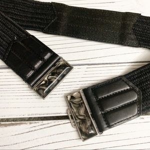 Chico's Accessories - Chico's Black Stretch Leather and Jute Belt Sz M